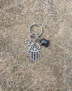 Hematite Grounding Turtle HAMSA Hand Love by WingsAndThingsbyAlex
