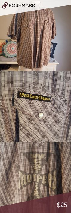 Button up short sleeve shirt Grey plad shirt with snap buttons. West Coast Choppers on front pocket and big logo on back. Jesse James Work Wear  Shirts Casual Button Down Shirts