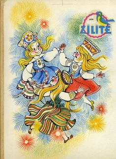 Illustration for Latvian Children's Magazine Zīlīte - Cover. Latvian, Estonian and Lithuanian girls dancing in folk costumes.