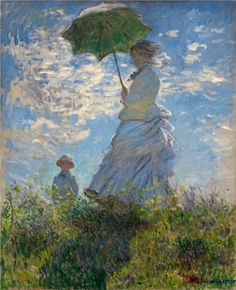 La promenade (1875) Claude Monet. The lady in the painting is Monet's wife and the boy, his son. I have always loved the light and perspective in this painting. It makes me feel like I am standing right there in the grass at the bottom of the hill.