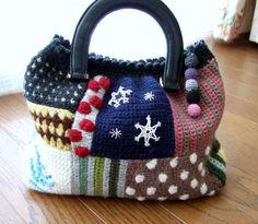 crochet patchwork purse by M's   Handmade Life http://handmade12.blog86.fc2.com/category14-7.html