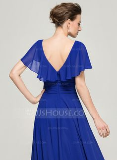 A-Line/Princess Scoop Neck Floor-Length Ruffle Beading Sequins Zipper Up Sleeves Short Sleeves No 2015 Royal Blue Spring Summer Fall General Plus Chiffon Mother of the Bride Dress