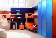 Orange-child-room-with-wardrobe-beige-carpet-and-shelves