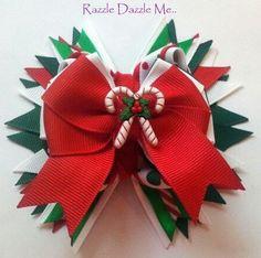 Christmas Dbl Candy Cane Hair Bow / Barretts / Ribbon