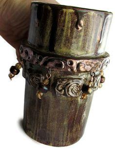 Ceramics and Pottery Mug  Movie Star Beaded Coffee by mmartiniuk, $42.00