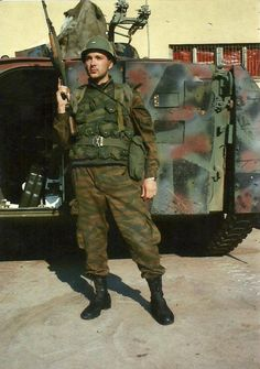 Member of the VRS with an OT M-60 armored personnel carrier.