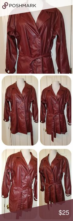 SOLD Women plus size burgundy faux leather belted  Trench coat with two front pockets in EUC. Fit size 1X/2X, Shoulder 18, chest down 26, Length 33, and Sleeves 28. Coat runs a little big please compare your measurement before purchase. Coat was measured lying flat. Jackets & Coats Trench Coats