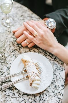 Cannolis, snow, rings, oh my! This winter wedding at Boston City Hall was simply perfect. The bride wore a knee-length lace dress and camel peacoat, the groom rocked a black suit, and they shared a cute clear umbrella to hide from the rain and snow! To warm up, they shared limoncello and cannolis at Caffe Vittoria in the North End of Boston. Rain, shine, wind, snow, Boston is the BEST place to elope! Check out more of Lena Mirisola's epic city elopements. Boston City Hall, City Hall Wedding, Courthouse Wedding, Cannoli, Vintage Engagement Rings, On Your Wedding Day, Spice Things Up, Photography Ideas, Clear Umbrella