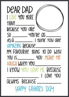 Fill in the Blanks Letter for Father's Day (Craft Gossip)