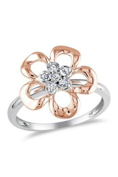 Two-Tone Diamond Cluster Flower Fashion Ring - 0.10 ctw