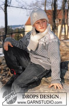 DROPS Children 12-15 - DROPS Jumper, hat and scarf - Free pattern by DROPS Design