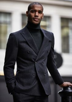 - Dapper fall all black combo with a black turtleneck black double denim suit. Black And White Outfit, Black Man, Black Outfits, Black Men In Suits, Gentleman Mode, Gentleman Style, Denim Suit, Moda Formal, Style Masculin