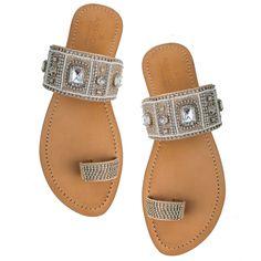 Serena Silver Toe Loop Sandals