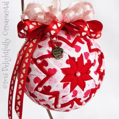 SALE Valentine's Day Quilted Ornament by DelightfullyOrnament, $16.00
