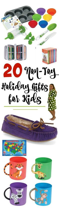 Holiday Gift Guide: 20 Non-Toy Gifts for Kids...reach past the toys and give your kids something they'll treasure this Christmas!  From books, to educational games, to funcational items they need this holiday list is top notch!