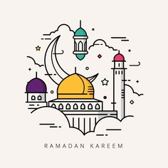Vector illustration for the celebration of holy month Ramadan with line art design Vector and PNG Line Art Design, Muslim Celebrations, Ramadan Cards, Arabian Art, Buch Design, Line Art Vector, Illustration Vector, Affinity Designer, Mosque Vector
