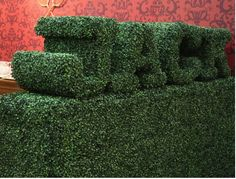 'Jack' sculpted fake hedge - part of a point of sale Artificial Hedges, Artificial Topiary, Boxwood Hedge, Brickwork, Evergreen, Signage, Greenery, Topiaries, Rocks
