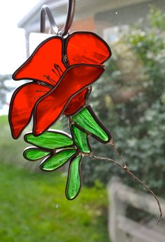 California Poppy Stained Glass Suncatcher by dortdesigns on Etsy