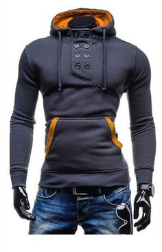 Collar Button Hoodie.   www.unique-outfit.com