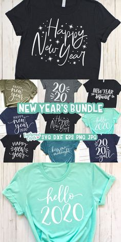 This new years SVG bundle works great with the Cricut and Silhouette Cameo for crafters to make DIY projects such as shirts, signs, mugs, and more! Works great with heat transfer vinyl. New Years Eve Shirt, Family New Years Eve, New Years Shirts, Diy Projects For Beginners, Cool Diy Projects, Silhouette Projects, Silhouette Cameo, Silhouette Studio, New Year's Crafts