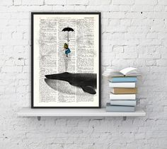 Alice in Wonderland Dictionary Book Print - Alice in the Sky with Umbrella (and a Whale)  Collage Print on Vintage Dictionary Book art on Etsy, £4.93