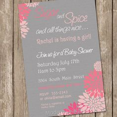 Items similar to Flower Sugar and spice girl baby shower invitation, pink, grey, flowers, printable invitation on Etsy Cricut Baby Shower, Baby Shower Invites For Girl, Baby Shower Parties, Baby Shower Themes, Baby Shower Invitations, Baby Shower Gifts, Shower Ideas, Girl Shower, Baby Showers