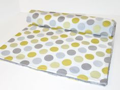 Yellow Polka Dot and Grey Minky Dot Baby Crib Blanket by LilBitsofSugar on Etsy