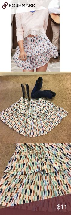 Bethany Mota tiered skirt Bethany Mota print tiered mini skirt. Light and fun. In great condition. No rips or stains. Bethany Mota Skirts Mini