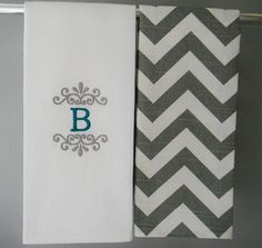 Monogram Kitchen Towels or Hand Towels in Grey / White Chevron on Etsy, $25.50