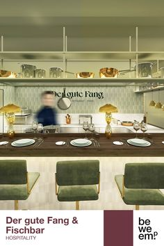 """BWM Architekten have developed a versatile concept for Hannah Neunteufel's new culinary hotspot in the Stadthalle Ybbs. The popular restaurateur's eatery """"Der gute Fang – Fischbar"""" is located right by the Rivers Route, with an unobstructed view of the Danube. PROJECT_Der gute Fang & Fischbar DEPARTMENT_Hospitality LOCATION_Ybbs Renderings © BWM Architekten Rivers, Hospitality, Restaurant, Concept, Popular, How To Plan, Projects, Log Projects, Blue Prints"""