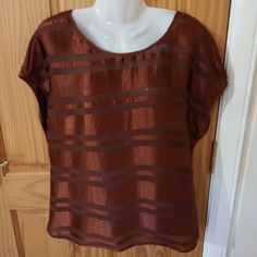 f45311e5b2 Atmosphere Size 18 Ladies Womens Chocolate Brown Silky Stripe Top  fashion   clothing  shoes