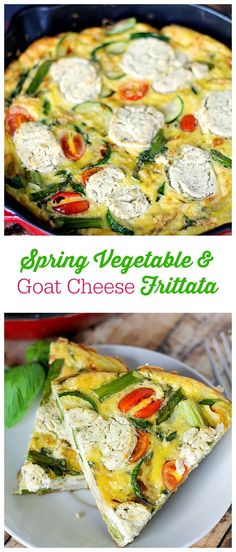 Spring Vegetable & Goat Cheese Frittata - Load up fresh zucchini, asparagus, tomatoes, onions and herbs along with two kinds of cheese. Serve with a garden salad or eat on its own.