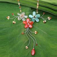 Carnelian and citrine choker, 'Floral Cascade'  Check out the beautiful flower inspired jewelry by artisans aroung the world.  I am a new curator at novica.com.I hope you will take a look at my 1st board.  http://www.novica.com/mynovica/gallery/?collectionid=1217