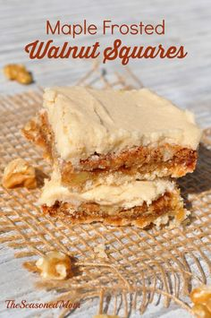 These Maple Frosted Walnut Squares are some of the most delicious treats imaginable. A shortbread crust, a buttery, chewy nut center, and rich maple frosting make these easy dessert bars the perfect addition to your holiday buffets or gift baskets! Easy Dessert Bars, Easy Desserts, Delicious Desserts, Yummy Food, Brownie Recipes, Cookie Recipes, Dessert Recipes, Dessert Ideas, Fall Recipes