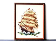 Vintage Embroidery Clipper Ship Framed Art by vintageeclecticity, $148.00