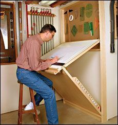 Shop Drafting Table Wall-mounted unit is sturdy, adjustable, and folds away flat. It is mounted to the shop wall and can be adjusted to eight different working positions. The top is hinged to a lower panel, and both parts fit into a frame so it can be folded flat against the wall.