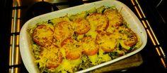 Ovenschotel met gehakt, courgette en tomaat.