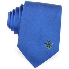Versace Solid Silk Medusa Narrow Tie (€75) ❤ liked on Polyvore featuring men's fashion, men's accessories, men's neckwear, ties and blue