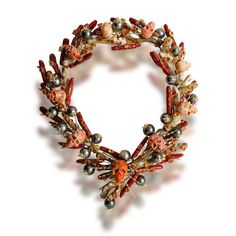 Tony Duquette coral, fire opal, cultured pearl and diamond necklace.