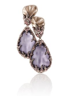 Rosamaria G Frangini | High Purple Jewellery | Amethyst, diamond and pearl earrings.