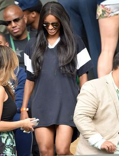 Sartorial sizzle: Ciara made sure that she put her best foot forward as she arrived to watch the tennis at Wimbledon on Tuesday, rocking a casual but sexy outfit