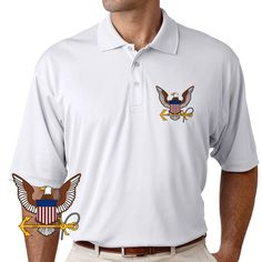 Officially Licensed U.S. Navy Eagle And Anchor Performance Polo Shirt now available! Grab a unique Navy Service Performance Polo Shirt today. These good looking polos will keep you cool as they are performance wicking, stain-resistant & offer UV Protection. Designed, Printed & Sublimated in the USA -Fabric Imported.