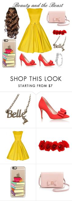 """""""Beauty and Beast// inspired//"""" by elysse-r on Polyvore featuring Disney, KG Kurt Geiger, Casetify, Ted Baker, Pandora, women's clothing, women, female, woman and misses"""