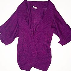 Open Shrug Cardigan - 1X Size 1X. 100% acrylic. Magenta and dark purple in color. Very soft and comfy. Shrug open front style. 1/2 sleeve button detail. Derek Heart Sweaters Cardigans
