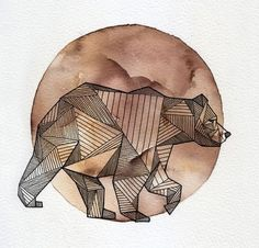 geometric bear against watercolor