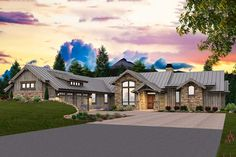 A rugged exterior suits this gorgeous Mountain house plan well.With three large bedrooms, each with their own full bath, everyone in this home is sure to feel comfortable.The master suite has a vaulted ceiling, walk-in closet, sinks on opposite walls, and a private toilet.The den is next to the master suite and comes complete with it's own fireplace.The dining room is just off the foyer and has a 12′ ceiling.A massive deck at the rear of the home makes this the ultimate plan if your lot ... Modern Lodge, Modern Barn House, Rustic House Plans, Ranch House Plans, Craftsman House Plans, Modern House Plans, Modern House Design, One Level House Plans, One Level Homes