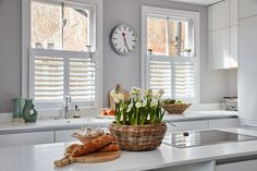 Cafe Style Shutters for Sash Windows by Plantation Shutters Ltd Wooden Shutters, Window Shutters, Sash Windows, Kitchen Shutters, White Shutters, Cafe Style Shutters, Traditional Shutters, Richmond Homes, Motorized Blinds