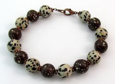A polka dotted #Michigan stone #bracelet with copper firebrick by rwilberg