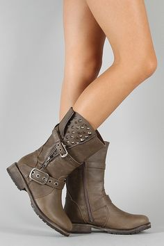 CHEAP BOOTS AND SHOES - Studded Spike Zipper Riding Boot