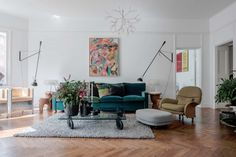 Bright and airy, plant-filled apartment in Östermalm, Sweden